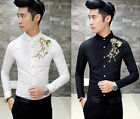 New Men's Elegant Floral Embroidery Slim Fit Mod Button Down Casual Shirt Top