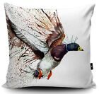 DESIGNER CUSHION MALLARD DUCK DIGITALLY PRINTED FLYING DUCK FAUX SUEDE CUSHION