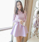 Women Spring Long Sleeve Lace Dress Korean Slim Embroidery Hollow A Line Dresses