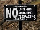 NO LOITERING SOLICING TRESPASSING Lawn Sign - Laser Engraved - FREE SHIPPING