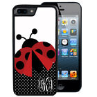 MONOGRAMMED RUBBER CASE FOR iPHONE 8 7 6 5 5C SE PLUS LADY BUG POLKA DOTS