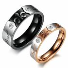 """Titanium steel Couple Rings """"Real Love Carved His And Her Wedding Bands Set  OPK"""