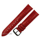 Red Alligator Grain Leather Strap Wristwatch WatchBand Black Pin Buckle 18~24mm