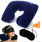 U Shape Inflatable Travel Pillows Neck Rest Air Cushion+ Eye Mask+Earbuds NEW