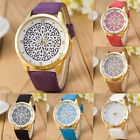 1 Piece Beauty Women's Girl Gold Plated Imitation Leather Jewelry Wristwatch