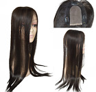 "3.5""x4""Mono & PU 100% Human Hair Topper Long Hairpiece Top Piece For Women"