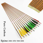 "32"" Archery  Pure Carbon Arrows Wood Pattern sp500 5"" turkey feather f Compound"