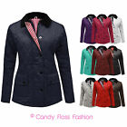 NEW WOMENS LADIES QUILTED PADDED BUTTON ZIP JACKET COAT TOP SIZE 14 ( XL )