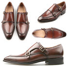 New NS Mens fashion Glossy brown leather double monk strap straight tip shoes