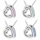 Unique Pendant Heart Rhinestone Stitched Crystal Light Silver Necklace+Chain