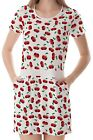 Cherry Women Round Neck Splicing With Pockets Dress b7 acc02483