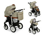 New LASER CASUAL Eco-Leather Details Baby Pram Buggy Car Seat Travel Set 3in1