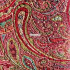 RED CRANBERRY GREEN PAISLEY FLORAL FULL QUEEN KING QUILT BLUE GREEN REVERSIBLE