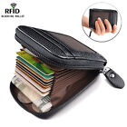 RFID Blocking Leather Wallet Credit Card Holder Zipper Slim Thin Pocket Compact