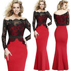 Women Lace Off Shoulder Party Cocktail Evening Prom Mermaid Long Maxi Dress 4157