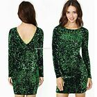 Women Fashion Sequin Dress Slim Long Sleeve V Neck Sweater Bodycon Pullover Tops