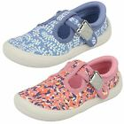 Clarks Girls Briley Bow 17 Fst Canvas T-Bar Strap Casual Doodles Pumps