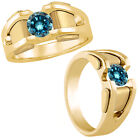 2 Carat Blue Diamond Designer Fancy Solitaire Mens Wedding Ring 14K Yellow Gold