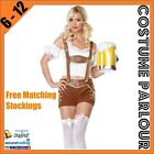 Womens Lederhosen Oktoberfest Beer Maid Wench Ladies Dress Costume Sizes 6 -12