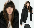 Zara Black Padded Quilted Coat Jacket Puffer Anorak With Faux Fur And Zip New