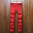 Stylish Mens Straight Slim Fit Jeans Trousers Ripped Jeans Pants Denim Trousers