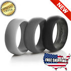 Wedding Silicone Ring Men 3 PACK Rubber Band Black Grey Comfort Gift Valentine's