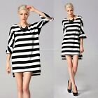 Women's Ladies Fashion 3/4 Sleeve O-Neck Loose Striped Casual Mini Dress IS6H