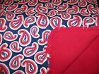 "PRICE REDUCED! Handmade ""Rag"" Baby Blanket- 36""x36""-  Red/Navy Paisley"