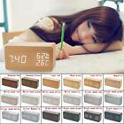 Multifunction Digital LED Wood Alarm Clock Voice Control Timer Thermometer