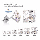 PRINCESS CUT WHITE GOLD DIAMOND EARRING MENS WOMENS 925 SIMULATED SQUARE STUD