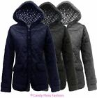 NEW LADIES FITTED QUILTED WOMENS HOODED PADDED ZIP JACKET COAT TOP 8-14