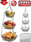 3 Tier Wire Hanging Basket Fruit Vegetable Organizer Storage Kitchen Counter-25""