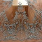 off white cord on netting rayon embroidered wedding dress lace fabric 47'' width