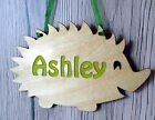 Wooden door hanging plaque child's name personalised wall sign woodland animals