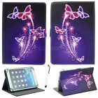 """Purple Butterfly For 7"""" 10"""" 10.1"""" Tablet Universal Adjustable Leather Case Cover"""