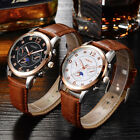 New Mens Rhinestone Analog Quartz Brown Leather Waterproof Wrist Watches