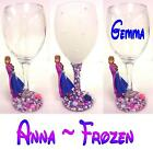 "PEARL DECORATIVE / DRINKING WINE GLASS WITH DISNEY'S ""ANNA"" FIGURE ~ Frozen"