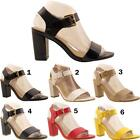 New Ladies Womens Peep Toe Party Fashion Ankle Strap Patent Sandals Shoes Sizes