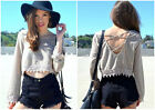 Women Fashion Tee Long Sleeve Backless Blouses Casual  Loose Lace Midriff Tops