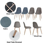 Set of 4 Eames Dining Chairs Strong Wood Legs Fabric Cushion Seat and Back Chair