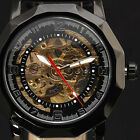 Fashion Skeleton Design New Black Leather Band Mechanical Wrist Watches Men 2