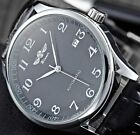 Men Automatic Mechanical Stainless Steel Leather Date Business Sport Wrist Watch