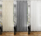 ANALISE PLAIN LINEN LOOK NET VOILE CURTAIN DOOR PANEL PLAIN SLOT TOP EMBROIDERED