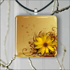FLOWER YELLOW AND BROWN PENDANT NECKLACE 3 SIZES CHOICE -hkm7Z