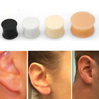 "Pair Soft Solid Silicone Skin Double Flared Plugs Earskin Retainer 8G-13/16"" Set image"