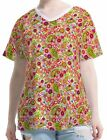 Mushrooms Poppies Paisley Women Lady V Neck Tee T-shirt b105 acq02626