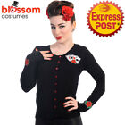 RKN35 Banned 50s Casino Ace Poker Sweater Black Pin Up Cardigan Retro Rockabilly