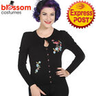 RKN20 Banned 50s Flamingo Floral Sweater Black Pin Up Cardigan Retro Rockabilly