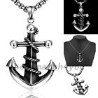 Punk Style Nautical Anchor Rope Pendant Stainless Steel Chain Necklace Accessory