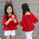 2-8Y Kids Girl Cotton Red Trumpet Sleeve Tops T-shirt Spring Summer Soft Clothes